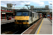 90027 pauses at Stafford with a Virgin CrossCountry service to Manchester Piccadilly in 2005 (this loco is stored at Crewe EMD).